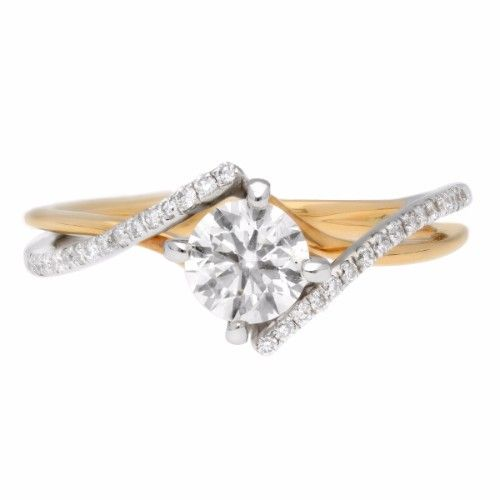 Propose Tonight Two Tone Round Twisted Shank Engagement Ring
