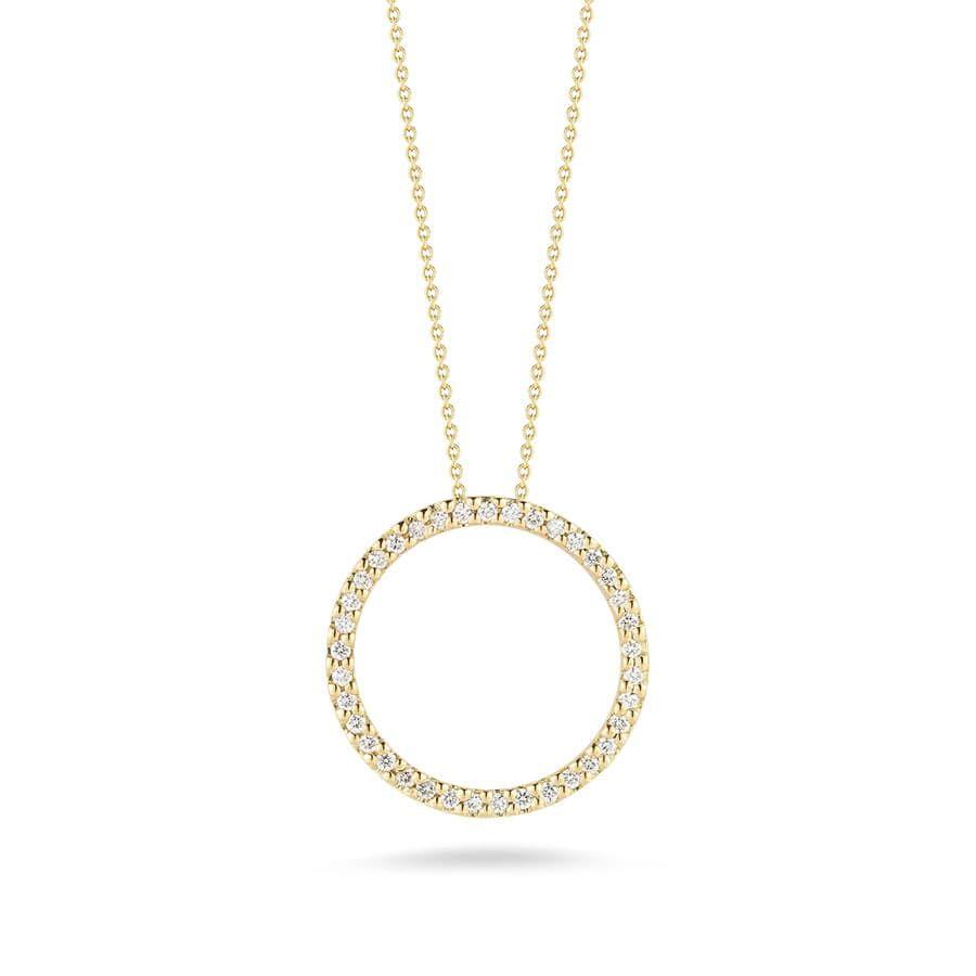 Roberto Coin Yellow Gold Diamond Large Open Circle Pendant 001259aychx0