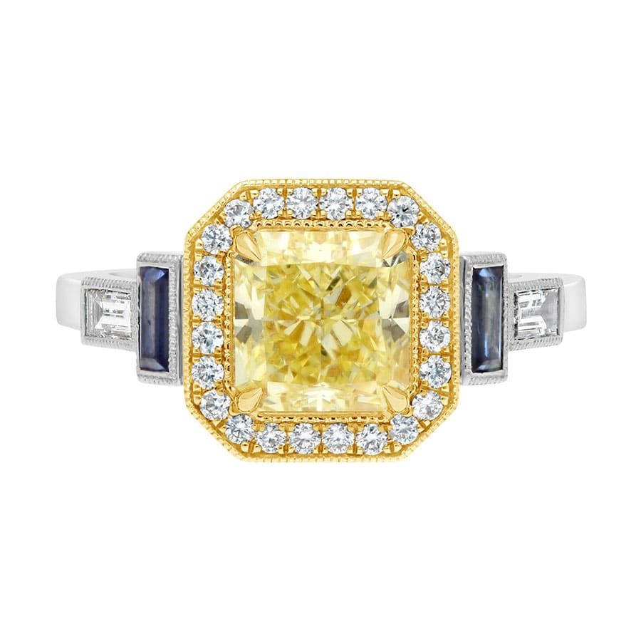 Two Tone Yellow Diamond Blue Sapphire Engagement Ring