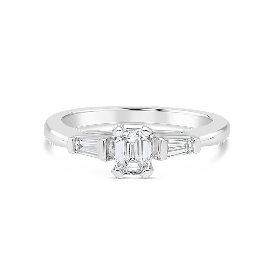 Propose Tonight Emerald Cut And Baguette Diamond Engagement Ring In 14k White Gold
