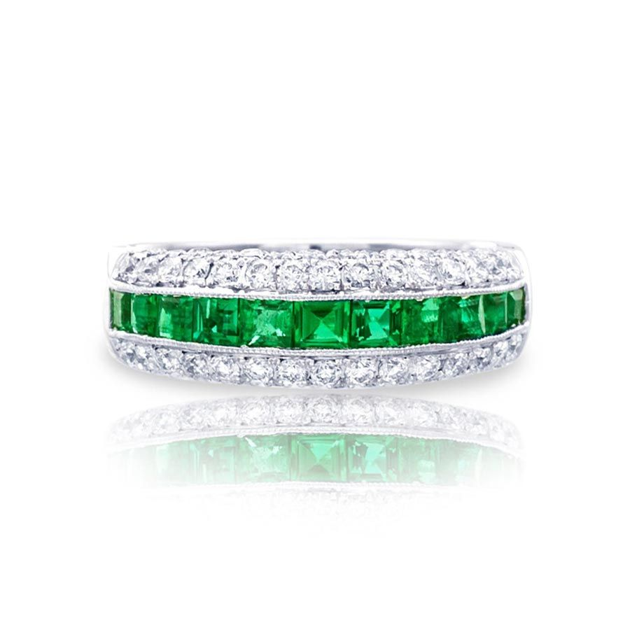 This is a picture of JB Star Emerald and Diamond Platinum Wedding Band