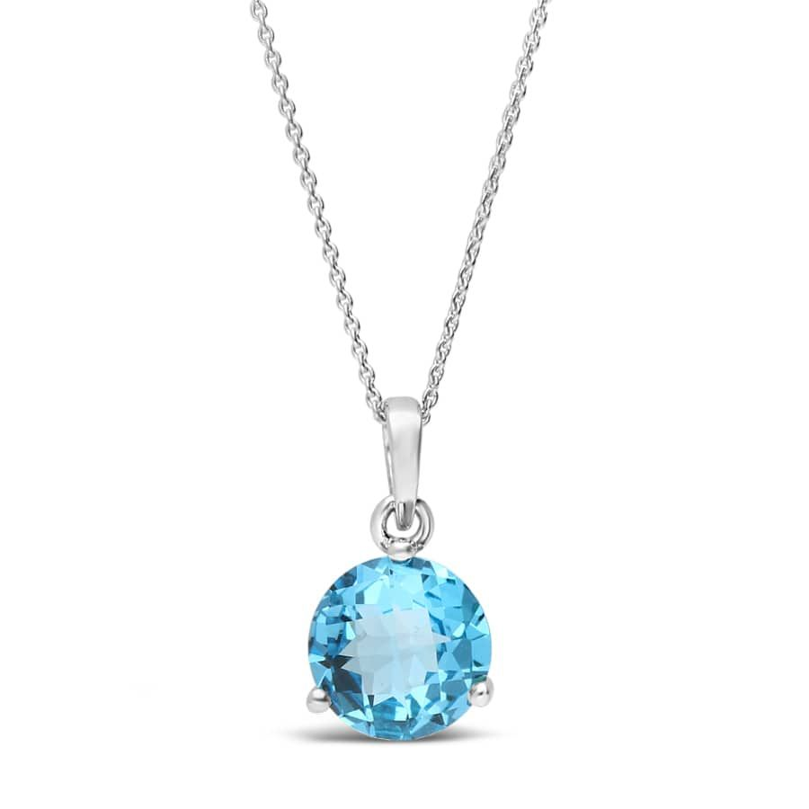 Blue Topaz and Diamond Pendant in 14K White Gold With Chain