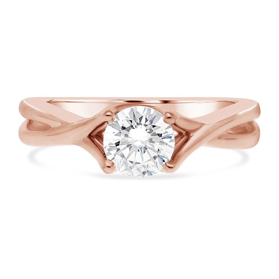 14kt Rose Gold Twist Solitaire Engagement Ring Setting Limited 368077