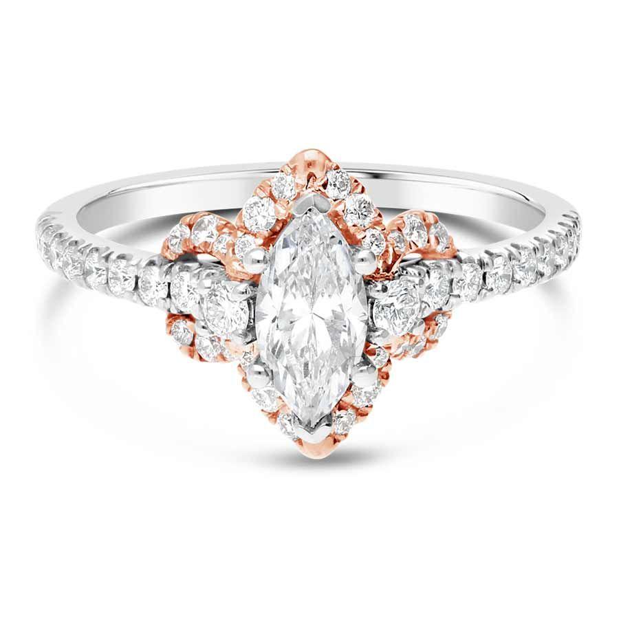Sereena Two Tone Marquise Halo Diamond Engagement Ring
