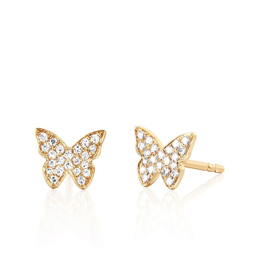 Ef Collection 14k Yellow Gold Diamond Butterfly Stud Earrings Ef 60450 Y